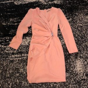 Pink dress with wrap panel in retro style